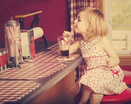 Blonde,Child,Coke,Cute,Dinner,Drink - inspiring picture on PicShip.com
