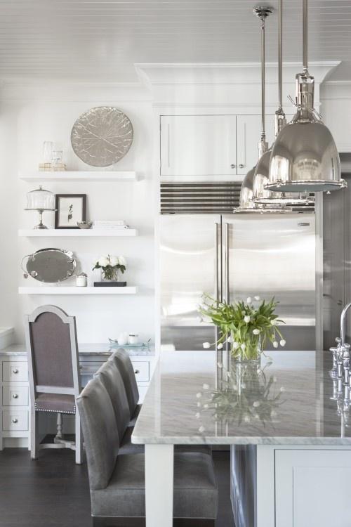 Open shelving above desk: gray/white kitchen. #laylagrayce #kitchen