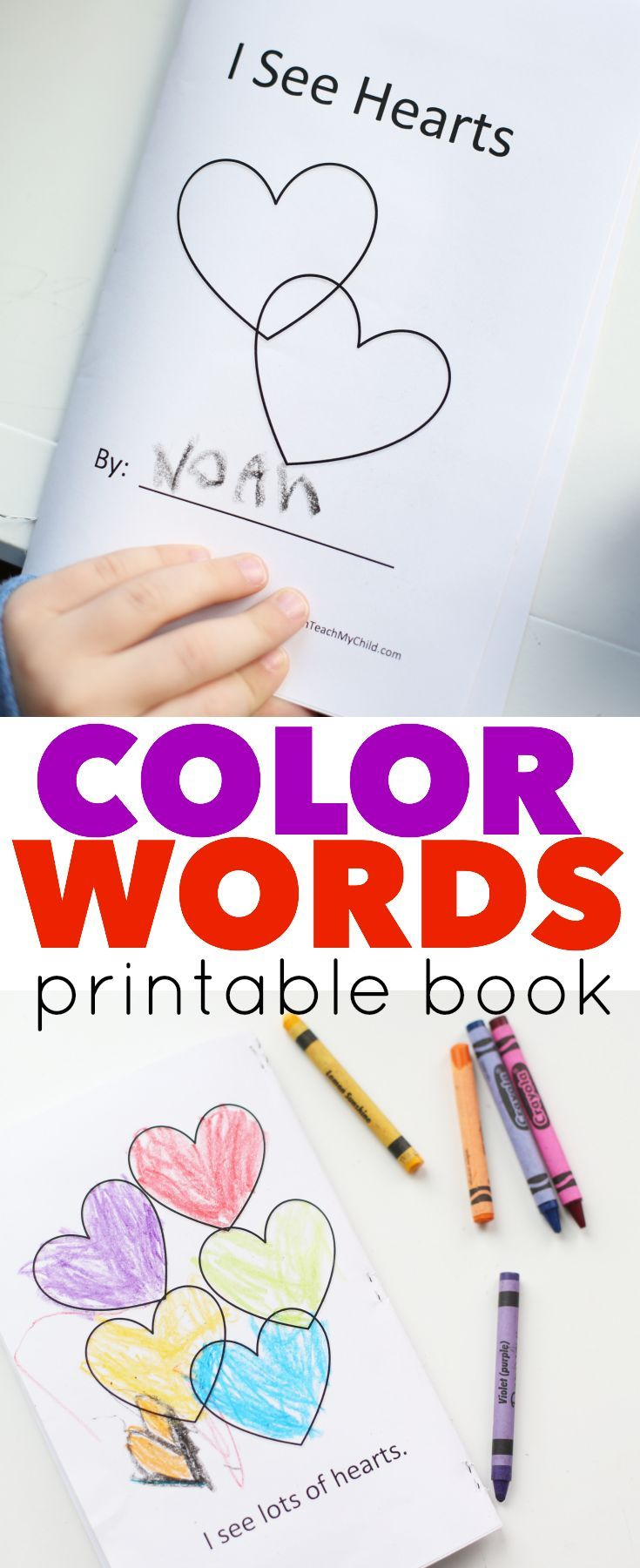 Printable Color Words book for Valentines Day using the sight words I, see, a, and an.  Perfect for beginning readers!