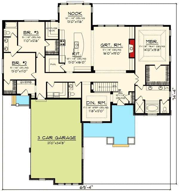 52 best house plans images on pinterest home plans home for Ranch floor plans with great room