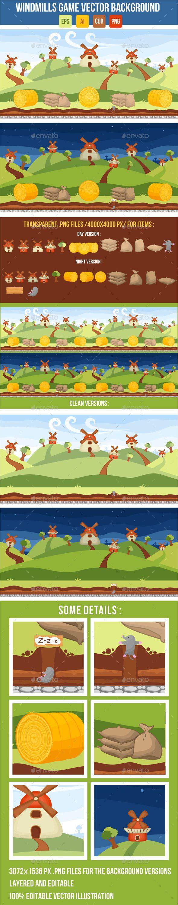 Windmills Vector Game Background  For download - http://graphicriver.net/item/windmills-vector-game-background/8832973?WT.ac=portfolio&WT.z_author=ragerabbit&ref=ragerabbit