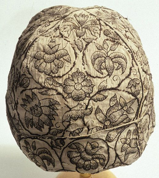 Tudor blackwork cap 1590, similar to the one worn by Henry FitzRoy in his miniature portrait.