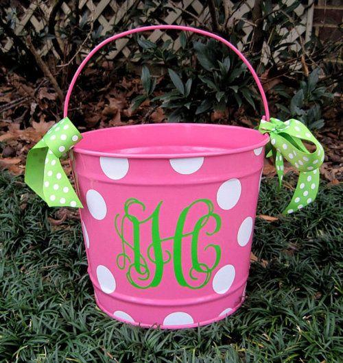 ~Monogrammed Easter baskets #painted kids bucket #monogram