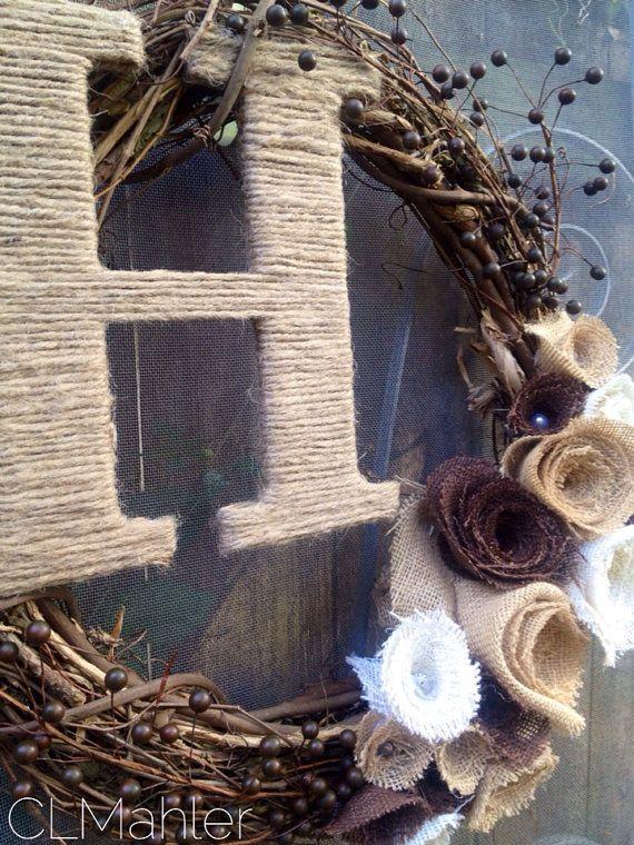 Rustic fall wedding shabby chic burlap flower monogram by CLMahler