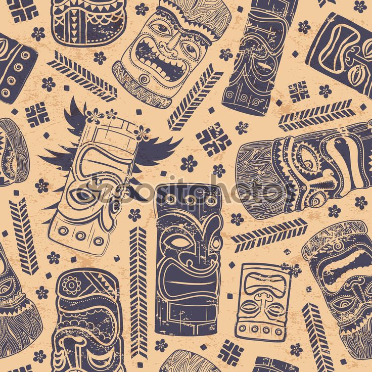 Vintage aloha tiki seamless pattern — Stock Illustration