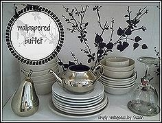 restoring a buffet hutch with wallpaper, furniture furniture revivals, repurposing upcycling