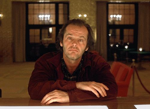 """This animated GIF from Stanley Kubrick's """"The Shining"""" captures multiple layers of Jack Nicholson's mercurial performance. (From """"If We Don't, Remember Me"""")"""
