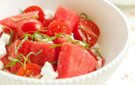 ▲ watermelon salad w/ tomatoes . goat cheese . basil