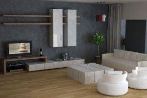 Συνθέσεις τοίχου και τηλεόρασης  με  αποθηκευτικό χώρο  συρταριών και κρεμαστών ντουλαπιών