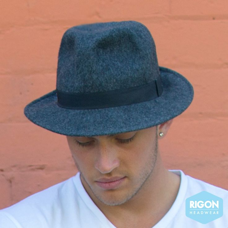 New men's felt trilby with ribbon trim.  Stylish looks for this new season in black or charcoal by Rigon Headwear.  Shop now: http://rigon-headwear.myshopify.com/collections/new-arrivals/products/copy-of-new-catriona-felt-wide-brim-fedora-bd192-by-beforedark