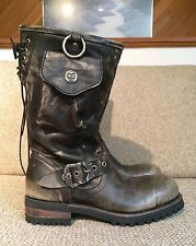 NEW MEN'S LIBERTY VINTAGE DISTRESSED LEATHER HARNESS BIKER MOTORCYCLE BOOTS 9
