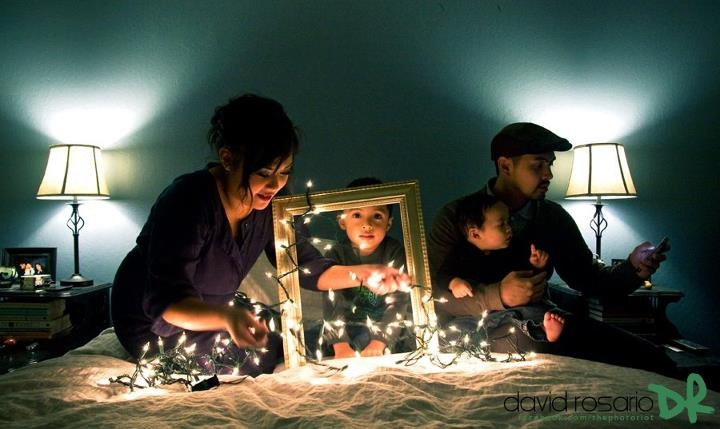 Christmas lights and an empty frame make a great holiday card shot!