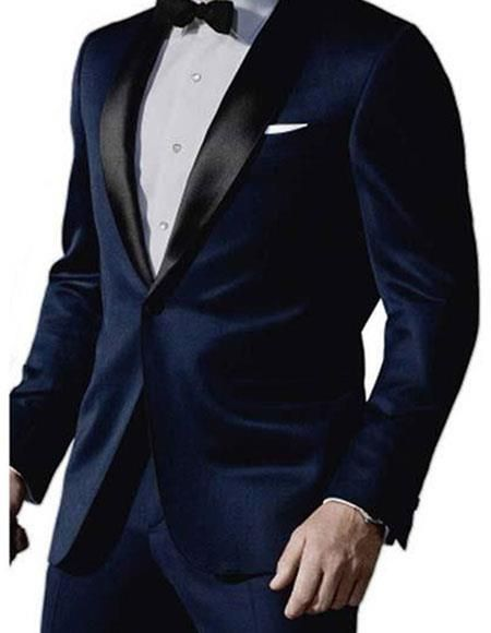 34aed884b10 Look like a celebrity with men s James bond satin shawl lapel 1 button mid  night blue Sky fall tuxedo.