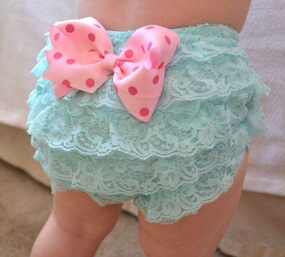 Aqua and Pink Baby girl Bloomer Diaper cover baby by AubreyGianna, $14.99