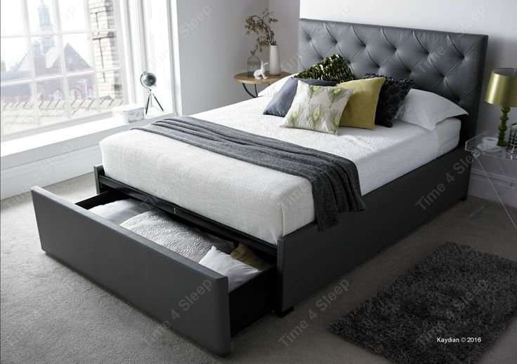 Striking looks with the versatility of a jumbo end storage drawer the Corbridge is sure to make a statement in your bedroom. Lovingly made by the team at Kaydian the Corbridge bed frame is upholstered in a contemporary grey bonded leather which will be practical and easy to co-ordinate with other home furnishings. The padded diamond quilted headboard provides a stylish and individual look.