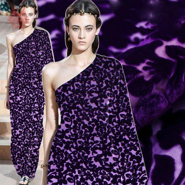 Фиолетовый цветочные выгорания ткани для шитья район шелковый бархат для платья 8 мм стекаются шелковой ткани ткани бесплатная доставка SP3749