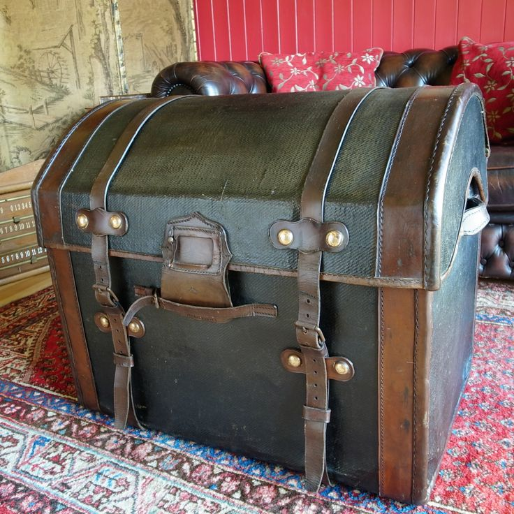 ANTIQUE VICTORIAN TRUNK Dome Top Carriage Trunk Steamer Trunk Travel Chest Rustic Storage Vintage Blanket Box by VintageTrunksChests on Etsy