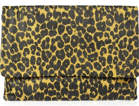 JAS MB Lisa leopard-print leather clutch