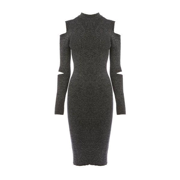 Warehouse Warehouse Slash Sleeve Rib Knit Dress Size 6 ($78) ❤ liked on Polyvore featuring dresses, dark grey, ribbed dress, high neck midi dress, warehouse dresses, mid calf dresses and sleeved midi dress