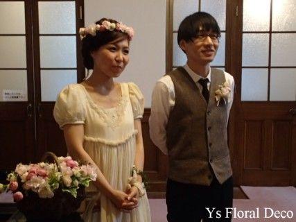 hk00229 紅茶染めのドレスにピンクの花冠&バスケットブーケ&リストレット アーティフィシャルフラワー ys…