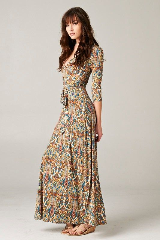 Sedona Dress, Gorgeous in blues, sepia, golden yellows and burn umbers. Emma Stine Limited