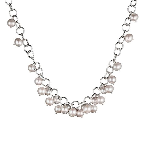 Kalevala Koru / Kalevala Jewelry / MAMAN AURORE NECKLACE  Designer: Kirsti Doukas, material: silver, sweet water pearl