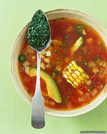 Mexican Fiesta Soup cumin-laced broth to a roasted tomatillo and cilantro pesto. Cilantro's pungent fragrance partners well with fruity tomatillos in a lively pesto    Read more at Wholeliving.com: Mexican, Southwestern, and Latin-Inspired Recipes