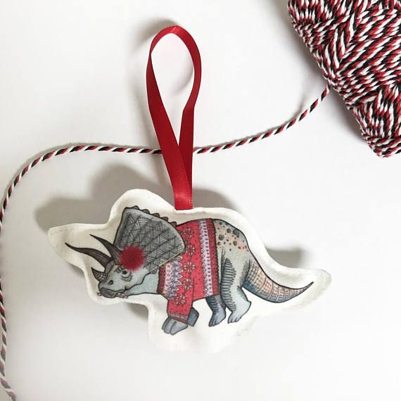 Fun triceratops dinosaur christmas tree decoration, dinosaur christmas ornament, fun quirky christmas decor, christmas present,