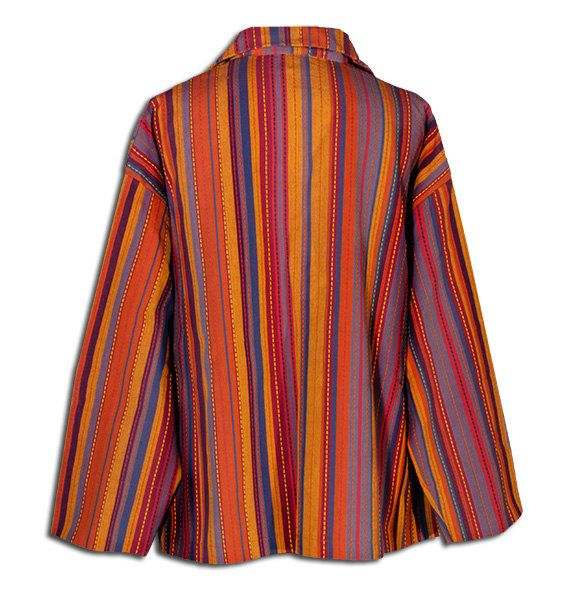 One button colorful coat in cotton by DominoModa on Etsy