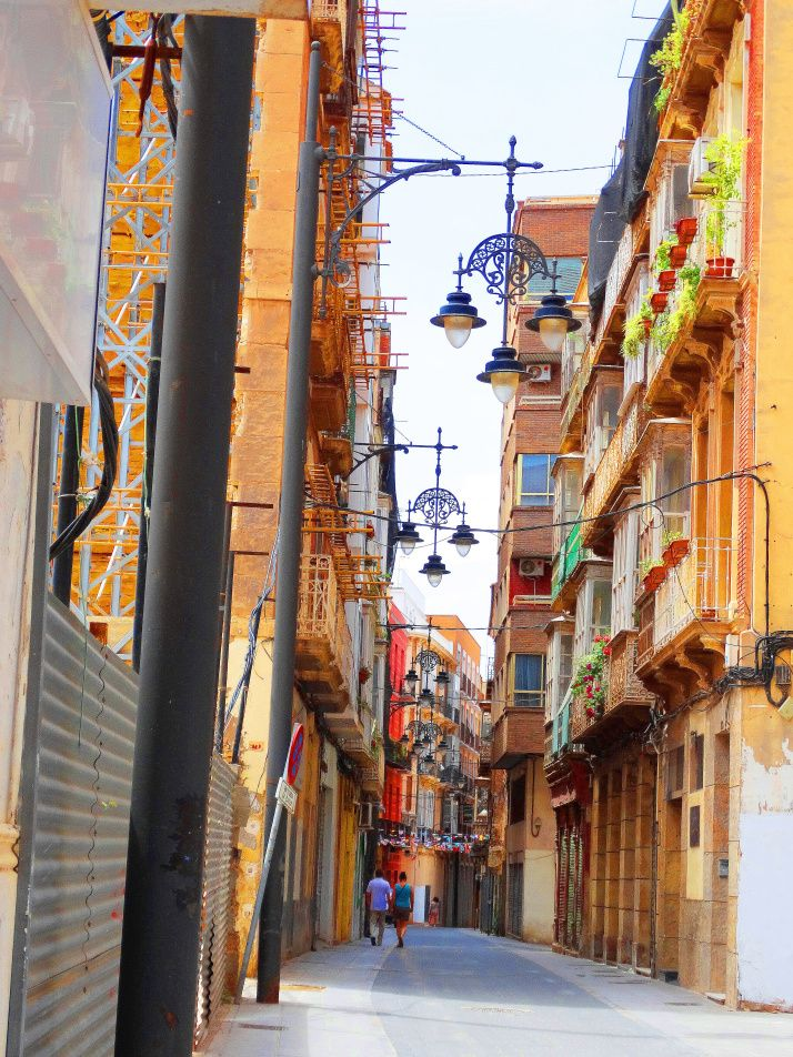 Street with Cartagena Spain's wonderful street lanterns