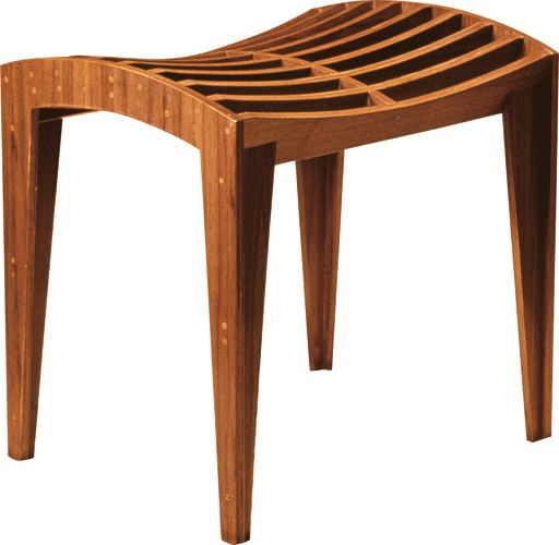 ZERO, stool made of multilayer wood with walnut veneer, dry assembled with wooden pins only, by Franco Poli