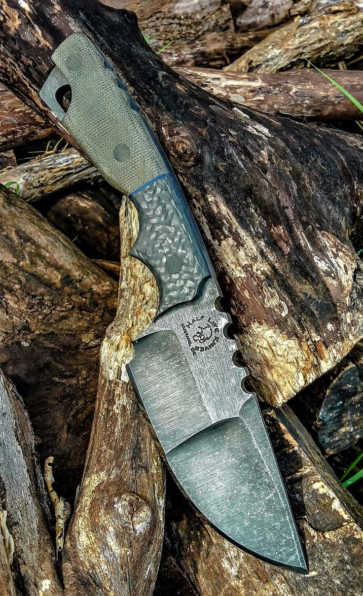 Half Life Knives Tactical Patrol Knife, made from stonewashed 80crv2. Od green micarta scales with carbon fiber scales...