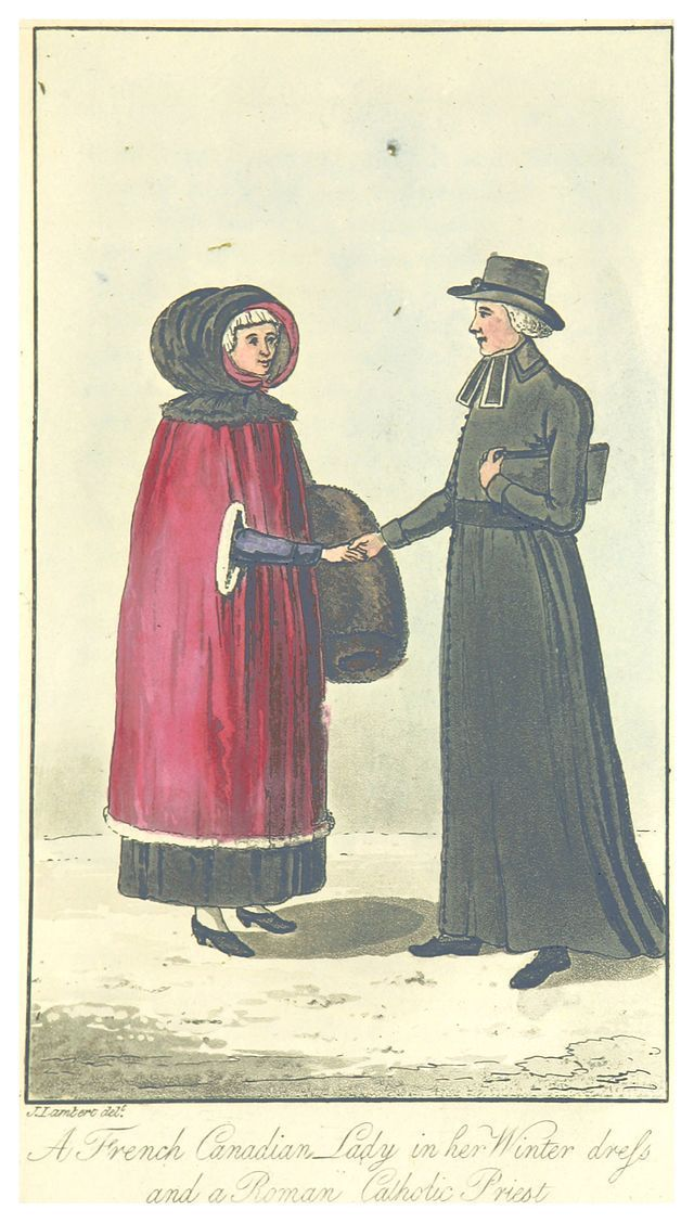 French Canadian Lady in her winter dress and a Roman Catholic Priest by John Lambert (1816) #lowerclassfashion #regency