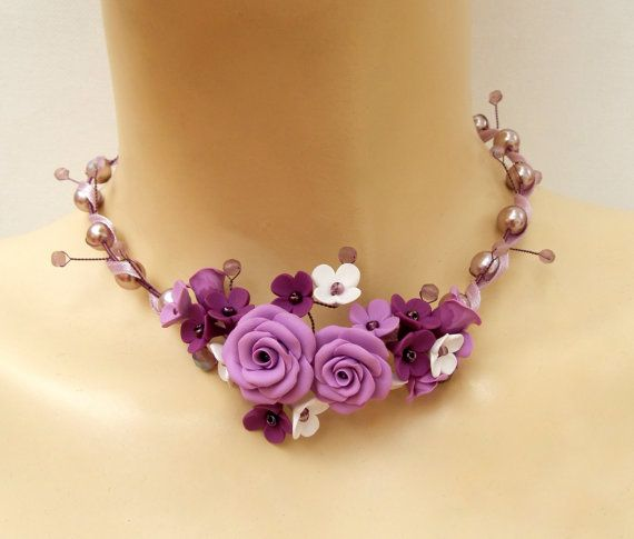 Purple necklace  Statement necklace  Flower by insoujewelry