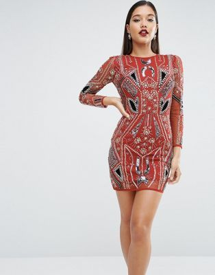 ASOS RED CARPET Ergonomic Velvet Sequin Mix Mini Dress