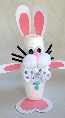 Cute Styrofoam Cup Bunny Craft For Kids /favecrafts