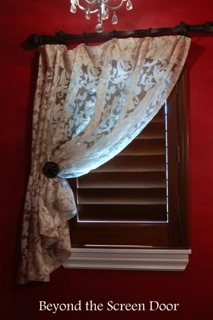 Lace Sheer Panels For A Small Powder Bath Window| Beyond The Screen Door.  Closet CurtainsBathroom ...