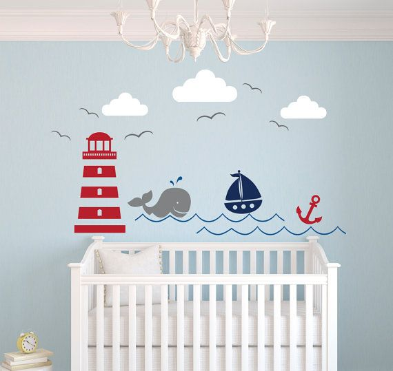 Nautical Theme Wall Decal  Nursery Wall Decal  by PinkiePeguinShop