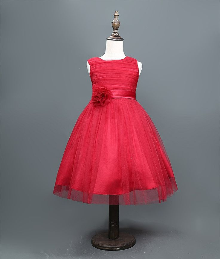 Red Holiday Sleeveless Tulle Dress