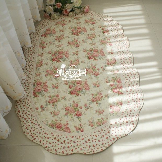 Country Floral Roses Cotton Quilted Living Bedroom Floor Mat Rug Runner Carpet