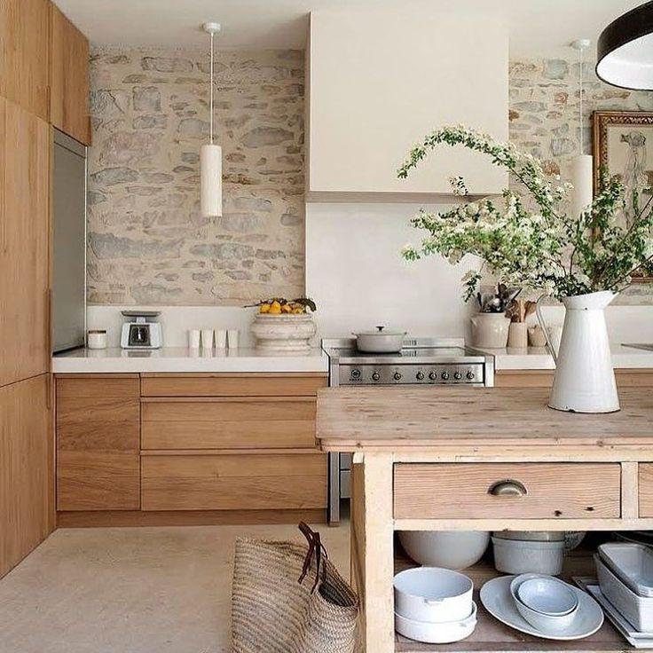 Rustic Kitchen, Raw Wood, Stone