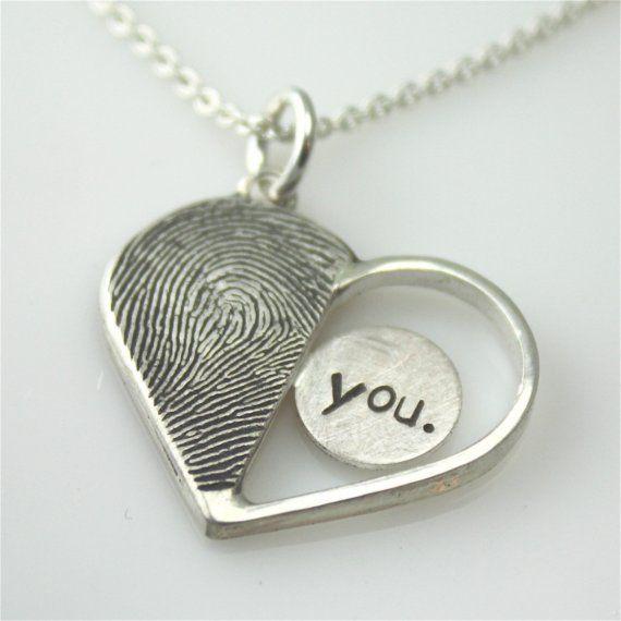 WANT!!: Mothers Day, Sweet, Fingerprints Necklaces, Thumb Prints, So Cute, Cute Ideas, Heart Necklaces, Fingerprints Heart, Jewelry