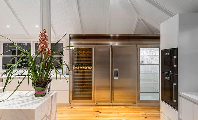 We love the combination of marble, wood and stainless steel featured in this Winning Kitchen in Brisbane. Designed by Designer Kitchens, the appliances include: Sirius rangehood, Blanco sink, Gessi Tap, Liebherr fridge, SubZero wine cabinet, SubZero fridge/freezer, Gaggenau cooktop, Gaggenau oven and Gaggenau dishwasher. Find more kitchen inspiration on the Winning website.