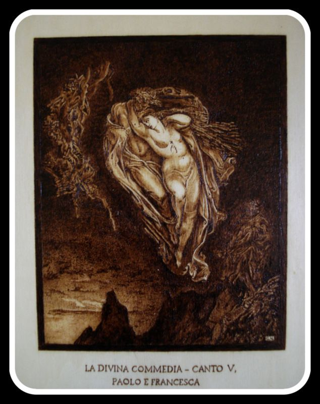 """""""#Paolo e #Francesca"""", #Illustrazione #Inferno di #Dante di Simone Naldini #artigianato #pirografia http://omaventiquaranta.blogspot.it/2013/11/linferno-dantesco-di-simone-naldini.htm"""