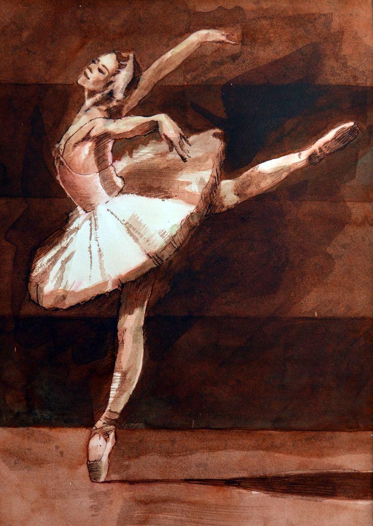 Pavel Kasparek: Ballerina in Brown / watercolor painting / 8 x 12 inch