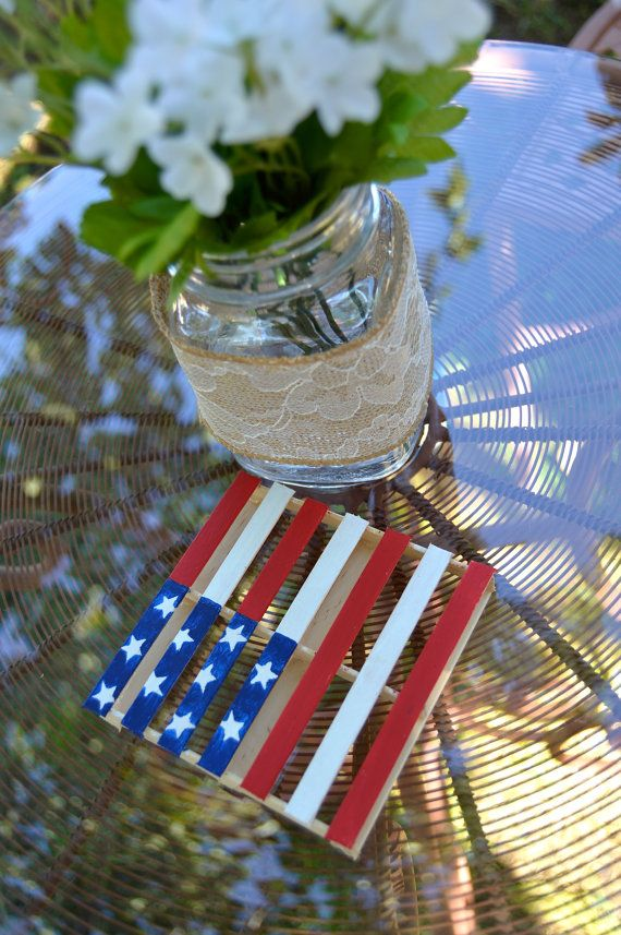 American Flag Mini Pallet Coasters- These coasters will make a nice addition to any home. These are made from popsicle sticks, glue, paint, and