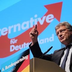 AfD chairman Joerg Meuthen speaks during the party's national convention in Cologne, Germany