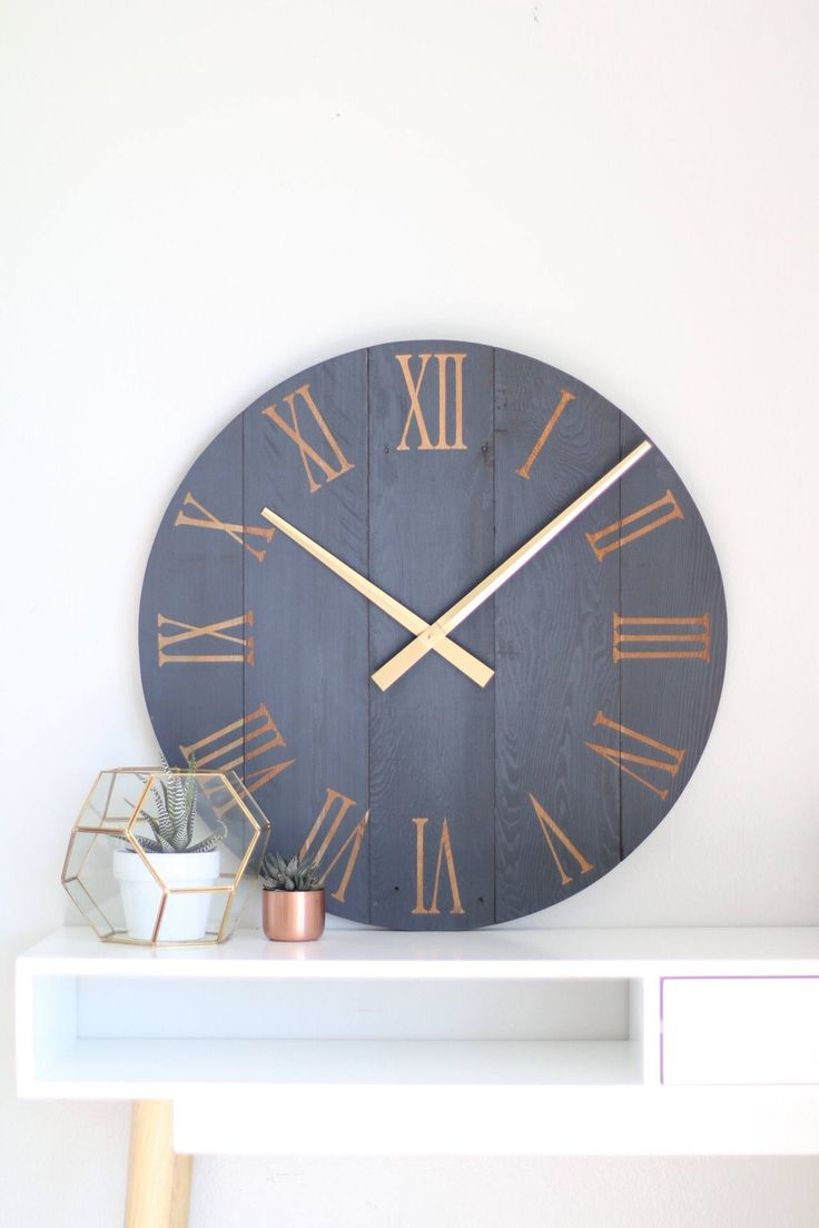 Large wall clock. Navy blue wall clock. Modern wall clock. Rustic wall clock. Wall hanging. Barn wood clock. Chalk paint. Modern wall art. by WoodLaneCreationsLLC on Etsy https://www.etsy.com/listing/493023392/large-wall-clock-navy-blue-wall-clock