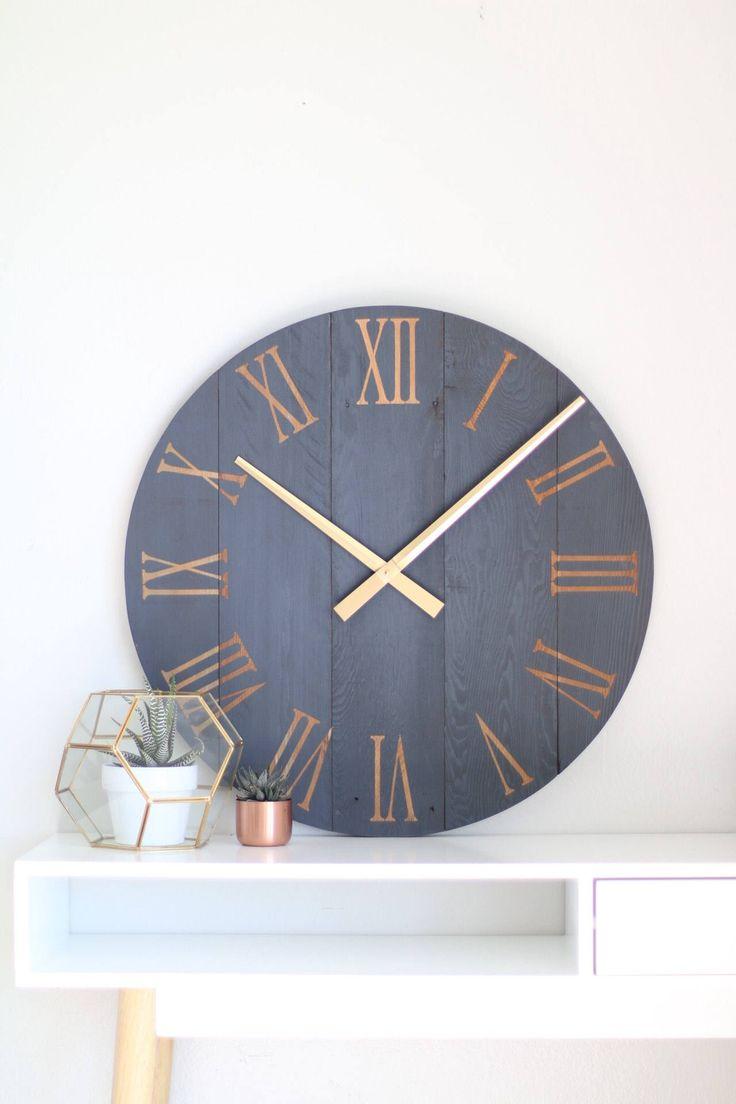 Large wall clock. Navy blue wall clock. Modern wall clock. Rustic wall clock. Wall hanging. Barn wood clock. Chalk paint. Modern wall art. by WoodLaneCreationsLLC on Etsy https://www.etsy.com/listing/493023392/large-wall-clock-navy-blue-wall-clock