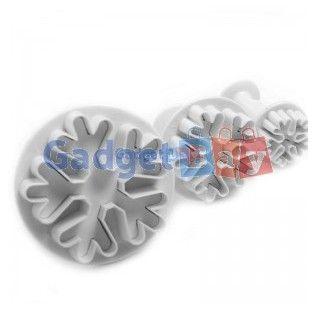 3pcs Snowflake Cake Decorating Sugarcraft Cutter Plunger Mold Mould